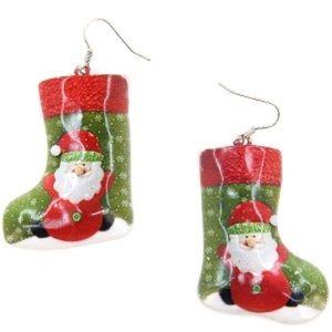 Christmas Earring stocking santa green red
